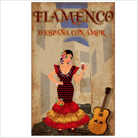 Flamenco.Translation is From Spain with Love. Spanish girl with wineglass and flamenco guitar, vector illustration