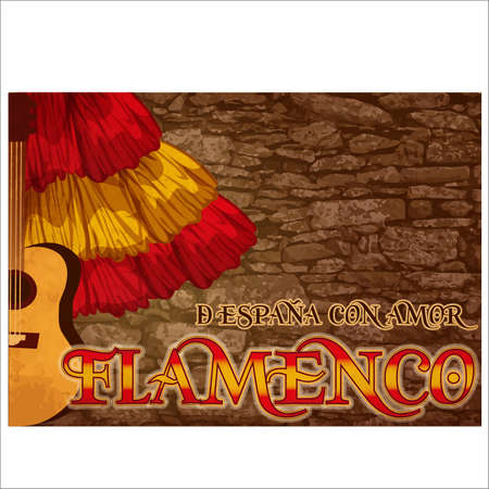 Flamenco. Translation from From Spain with Love. Greeting folk festival card, vector illustration Vetores