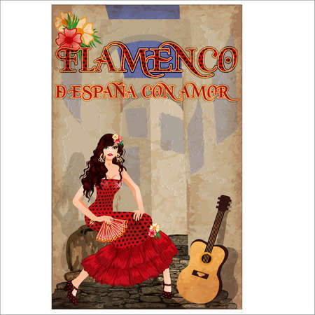 Flamenco.Translation is From Spain with Love. Spanish girl with fan. and guitar. Flamenco party card. vector illustration