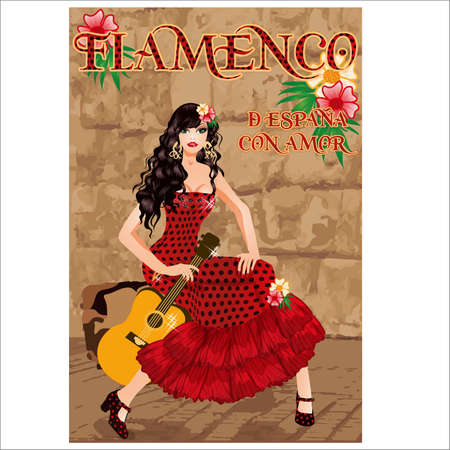 Flamenco.Translation is From Spain with Love. Beauty girl with spanish guitar. Flamenco party card. vector illustration