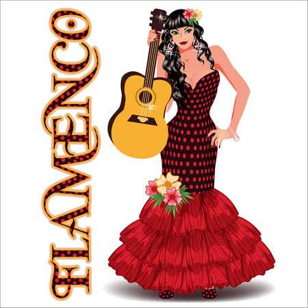 Flamenco. Elegant dancing girl with spanish guitar. vector illustration