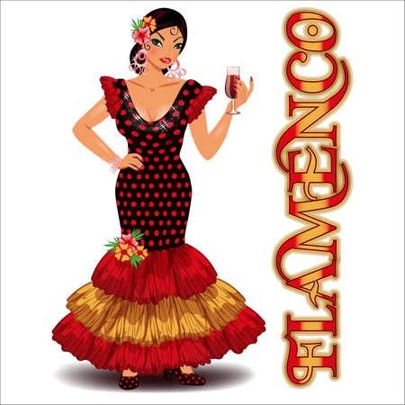 Flamenco. Elegant flamenco girl and spanish wine. vector illustration