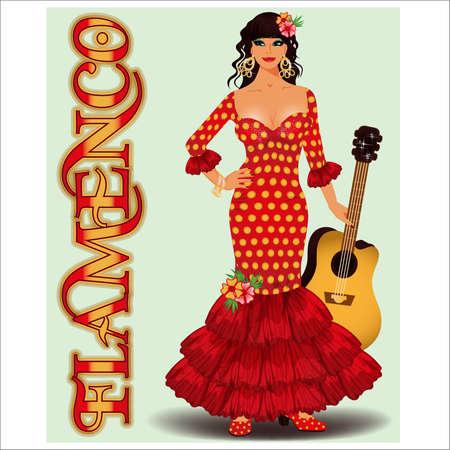 Flamenco. Spanish dancing girl and guitar. vector illustration