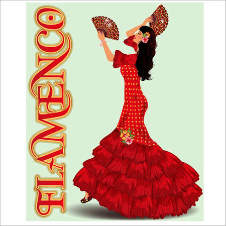 Flamenco, Dancing girl with spanish fans, flamenco party. vector illustration