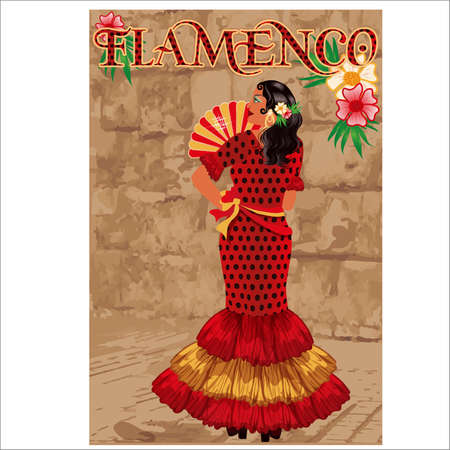 Flamenco. Spanish girl with fan. Flamenco party invitation card. vector illustration