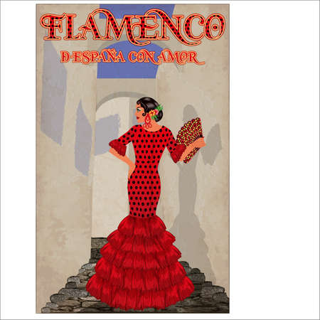 Flamenco.Translation is From Spain with Love. Spanish girl with fan. Flamenco party card. vector illustration