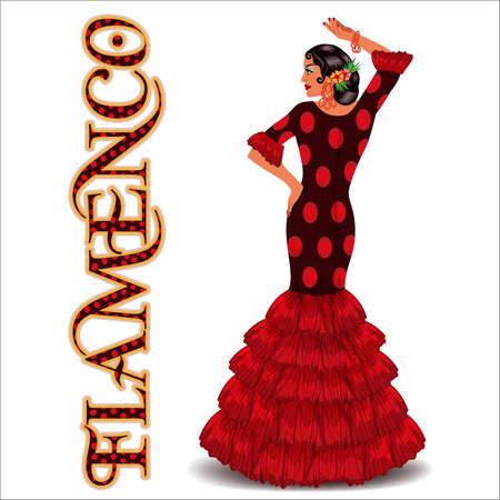 Flamenco. Elegant spanish dancing girl. Flamenco party card. vector illustration