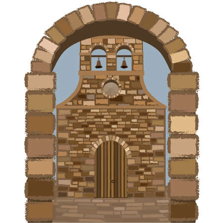 Medieval spanish church in romanesque style, vector illustration