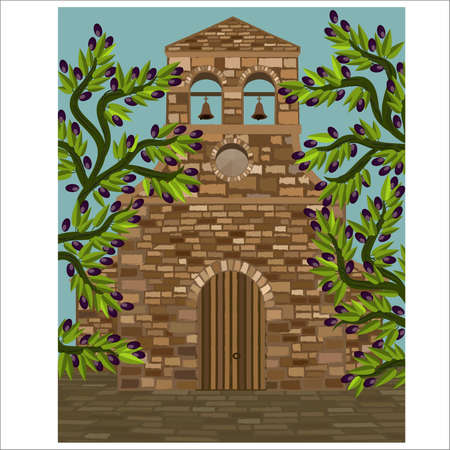 Medieval spanish church in romanesque style and olive tree, vector illustration
