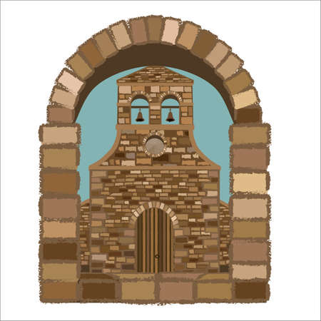 View from the arched window of the medieval spanish church in romanesque style, vector illustration