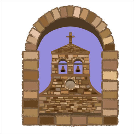 View from the arched stone window of the medieval church in romanesque style, vector illustration