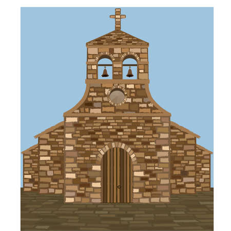 Ancient medieval spanish church in romanesque style, vector illustration 矢量图像