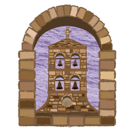 View from the arched window of the ancient medieval church in romanesque style, vector illustration