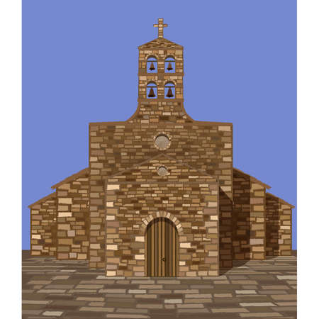 Ancient medieval spanish church in romanesque style, vector illustration 일러스트