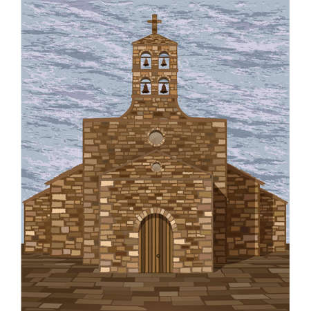 Ancient medieval spanish church in romanesque style with bells, vector illustration