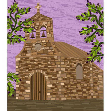 Spanish old church in romanesque style and olive tree, vector illustration