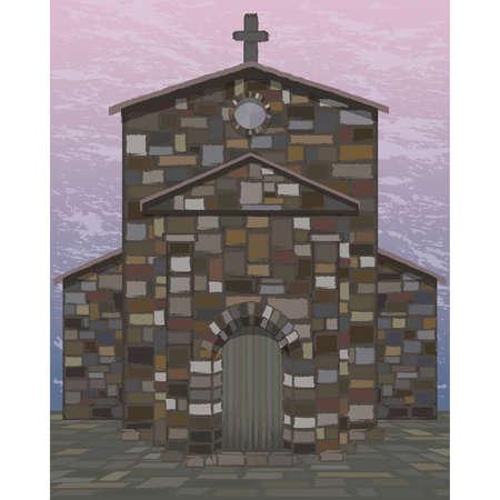 Ancient spanish church in visigothic style. vector illustration Ilustrace