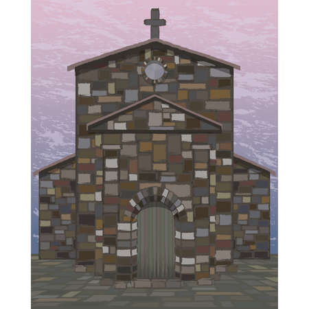 Ancient spanish church in visigothic style. vector illustration Illustration
