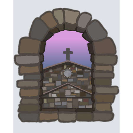View from the arched stone window of the medieval spanish church in visigothic style. vector illustration