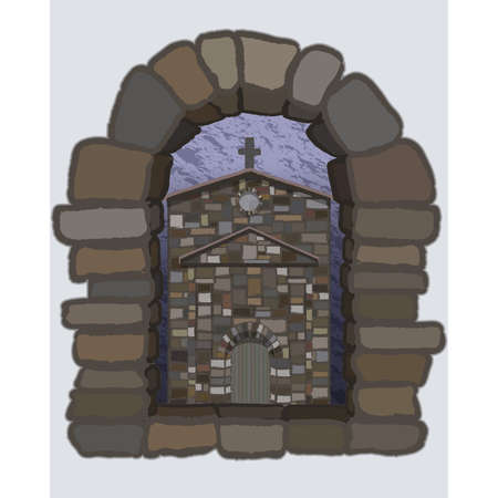 View from the arched stone window of the ancient spanish church in visigothic style. vector illustration