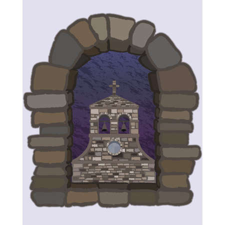 View from the arched stone window of the ancient spanish church in romanesque style, vector illustration Ilustrace