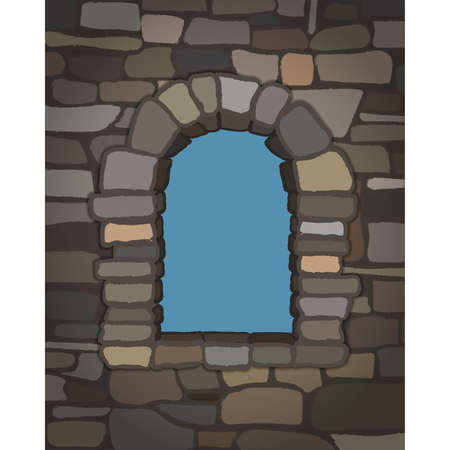 Arched stone window in visigothic style. vector illustration  イラスト・ベクター素材