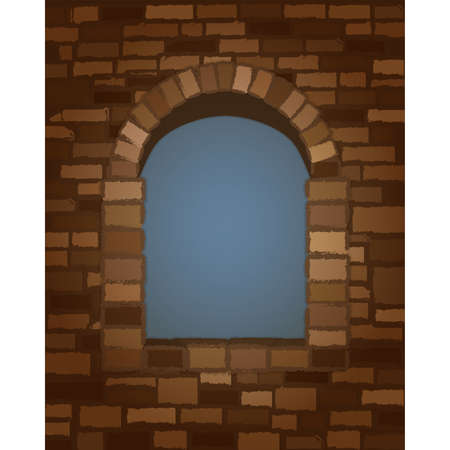 Arched stone window in romanesque style background. vector illustration