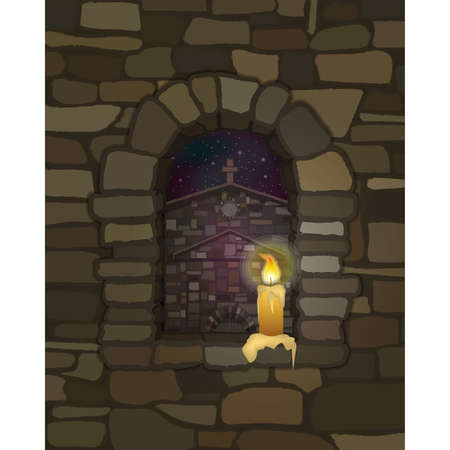 View from the arched stone window with candle of the ancient medieval church in visigothic style, vector illustration