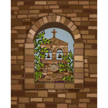 View from the arched window of the ancient medieval church in romanesque style and olive tree, vector illustration Stock Illustratie