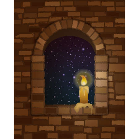 Arched stone window in romanesque style and candle, night background, vector illustration Иллюстрация
