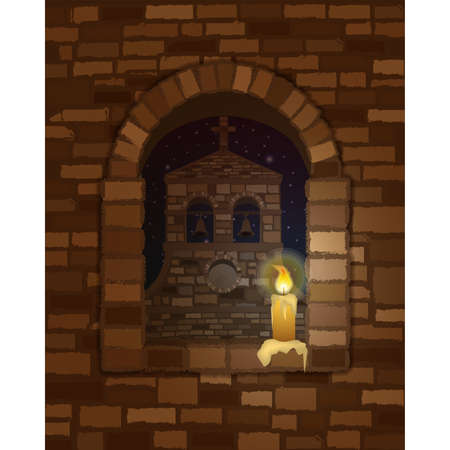 View from the arched window with candle of the ancient medieval church in romanesque style, vector illustration