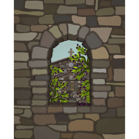 View from the arched stone of the ancient medieval church in visigothic style and olive tree, vector illustration 일러스트