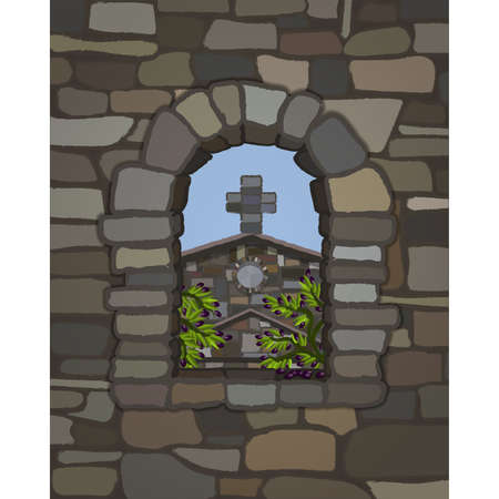 View from the arched window of the old medieval church in visigothic style and olive tree, vector illustration