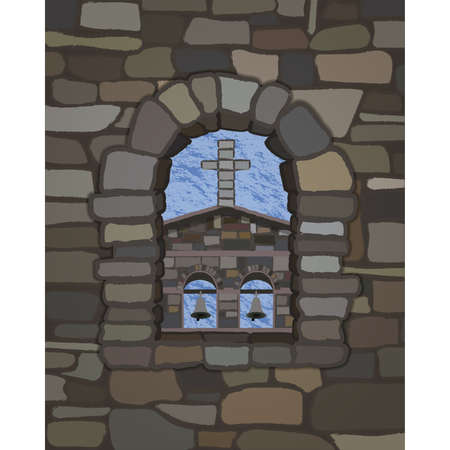 View from the old arched stone window of the old medieval church in visigothic style, vector illustration 일러스트