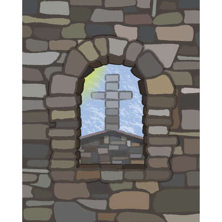 View from the arched window of the old medieval church in visigothic style with stone cross, vector illustration