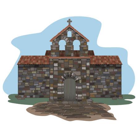 Ancient spanish church in visigothic style. vector illustration  イラスト・ベクター素材