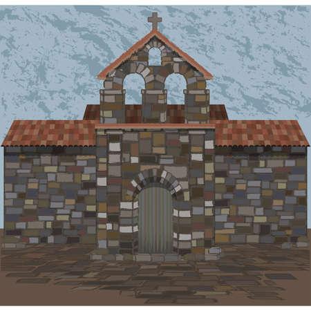 Old spanish stone church in visigothic style. vector illustration
