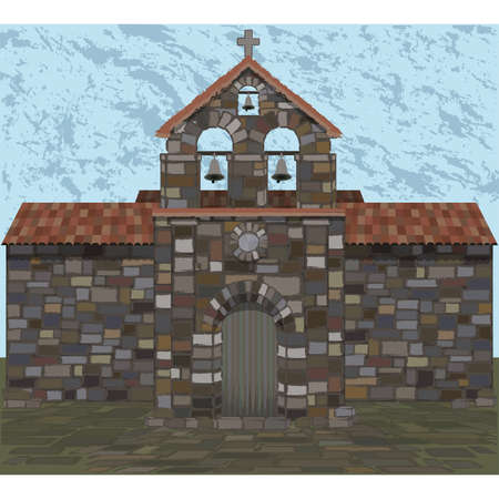 Ancient stone church in visigothic style. vector illustration