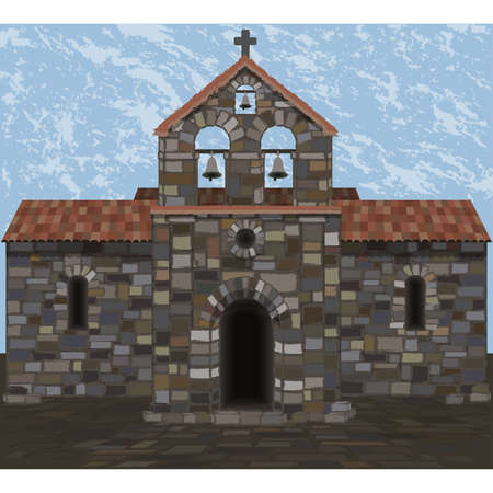 Ancient stone spanish church in visigothic style with bells. vector illustration