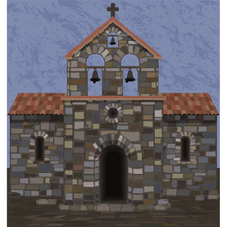 Old stone church in visigothic style. vector illustration