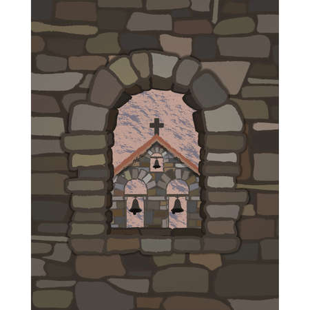 View from the arched stone window of the old spanish church in visigothic style, vector illustration  イラスト・ベクター素材