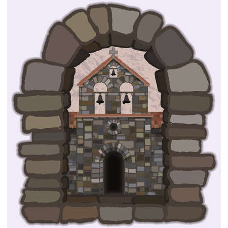 View from the old arched stone window of the medieval church in visigothic style, vector illustration
