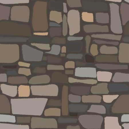 Ancient rock stone seamless texture, vector illustration