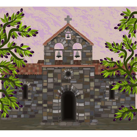 Ancient stone church in visigothic style with olive tree. vector illustration Çizim