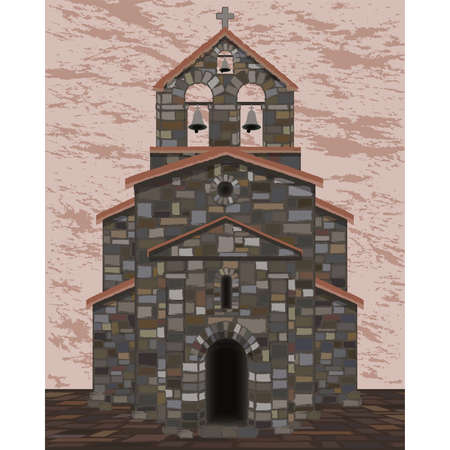 Ancient stone church in visigothic style with bells. vector illustration