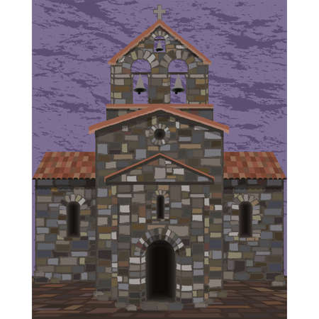 Old stone spanish church in visigothic style with bells. vector illustration 일러스트