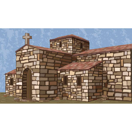 Ancient stone spanish church in visigothic style. Invitation background. vector illustration  イラスト・ベクター素材