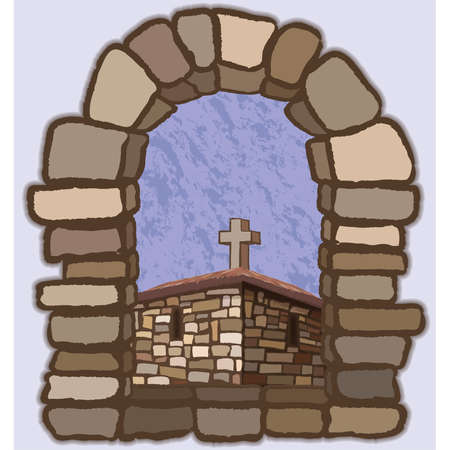 View from the old arched stone window of the medieval church, vector illustration