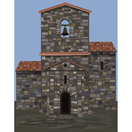 Old stone spanish castle in visigothic style with bell. vector illustration