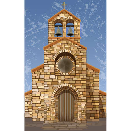 Spanish old medieval church in romanesque style, vector illustration